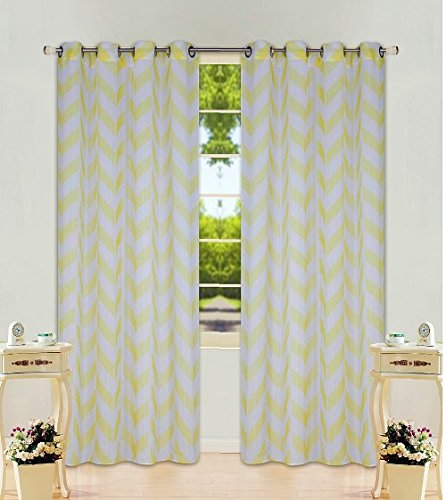 "2 Panel Chevron Yellow  Two-Tone Pattern Design Voile Sheer Window Curtain 8 Silver Grommets 55"" W X 63"""