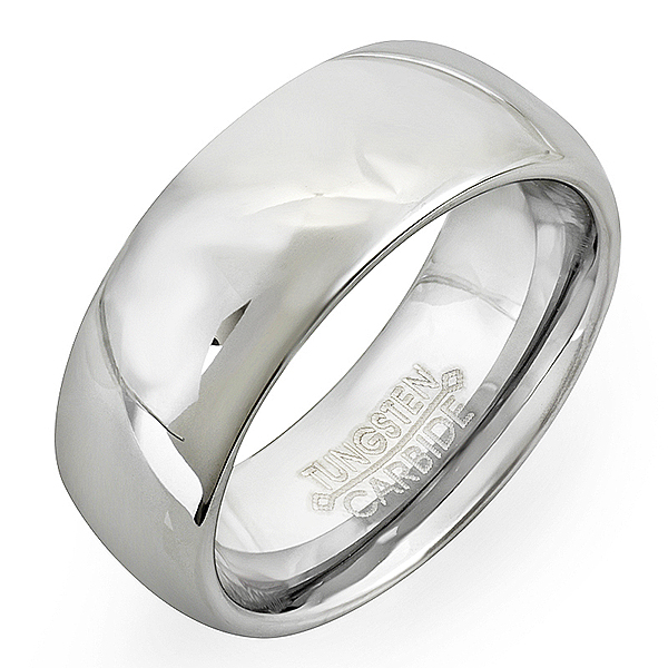 Dome Shaped Bands: Tungsten Carbide Men's Ladies Unisex Ring Wedding Band 8MM