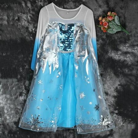 3-8Y Kid Girls Dresses Elsa Freeze Dress Costume Princess Anna Party Dresses 100% Top Good - Elsa Costume Dresses