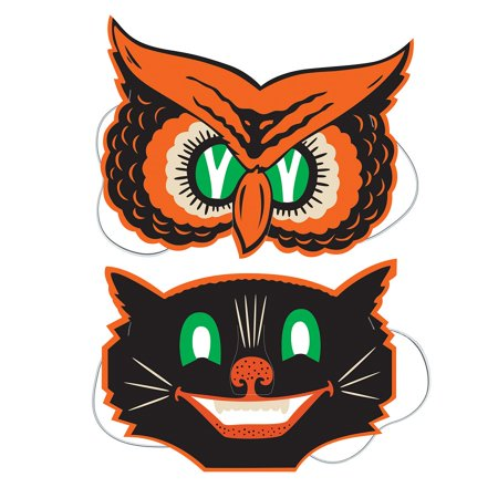 Club Pack of 24 Decorative Spooky Owl and Cat Halloween Masks 9.5