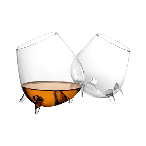 Final Touch Relax Footed Cognac Glasses Set of 2 by Final Touch