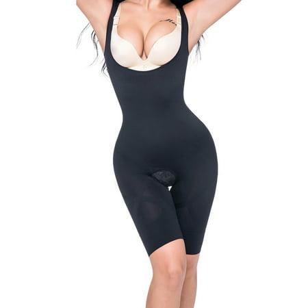 Nude Full Body Suit (SLIMBELLE Women Full Body Shaper Waist Cincher Seamless Smooth Bodysuit Open Crotch)