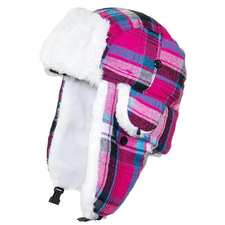 Best Winter Hats Big Kids Quality Madras Plaid Russian/Trapper Hat W/Faux Fur (One Size) -