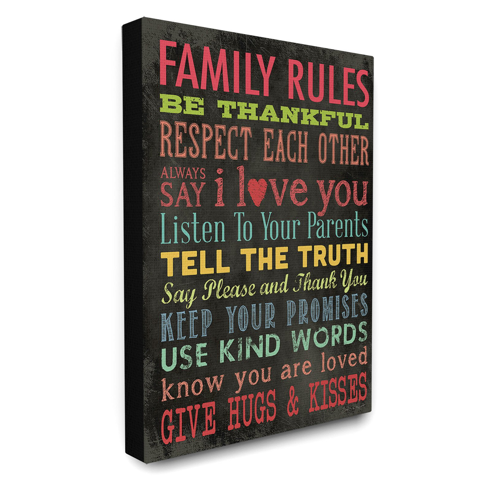The Stupell Home Decor Collection Family Rules Chalkboard Style Canvas Wall Art