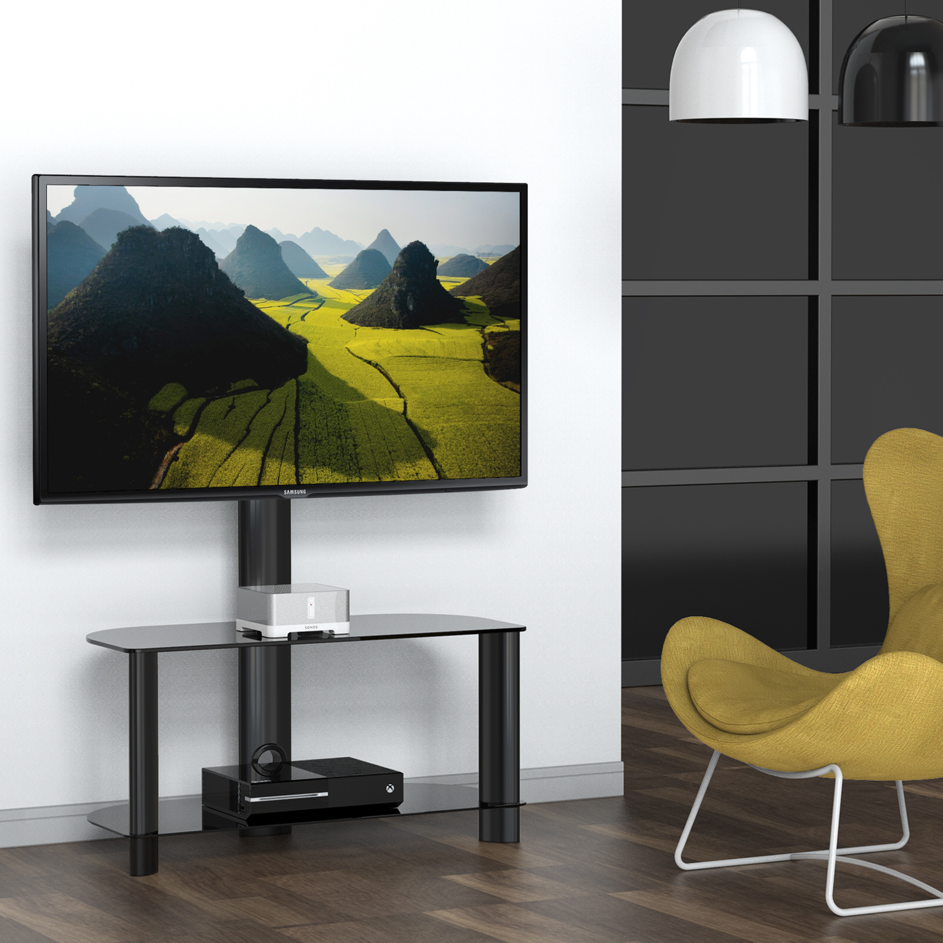 FITUEYES Universal Tv Stand with Swivel Mount Entertainme...