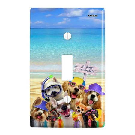 No Dogs on Beach Selfie Golden Retriever Westie Pug Plastic Wall Decor Toggle Light Switch Plate Cover - Beach Light Switch Covers