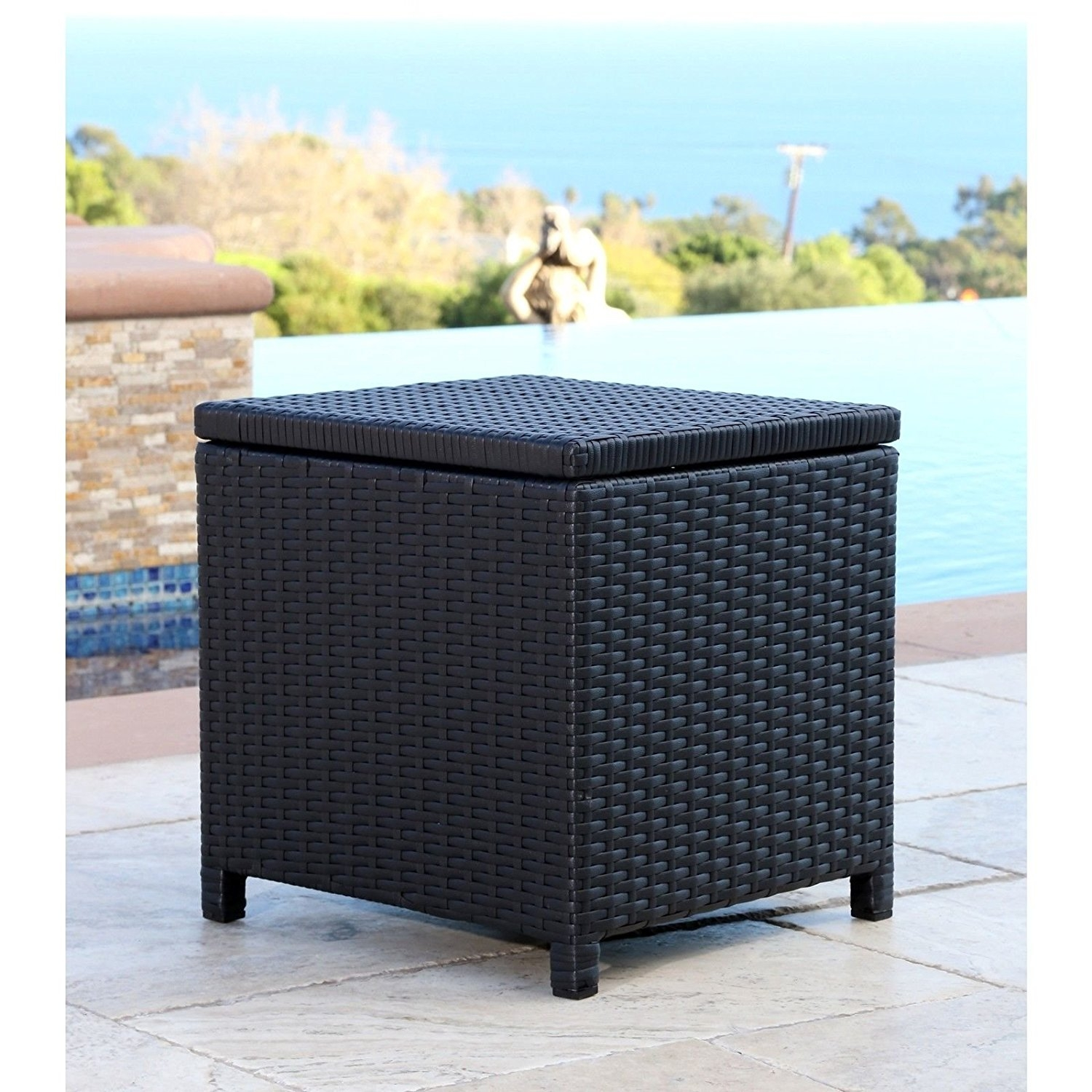 Abbyson Living Newport Outdoor Black Wicker Storage Ottoman For Patio Pool