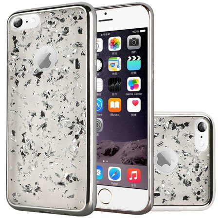 Insten Frozen Glitter Dual Layer Hybrid Hard Snap-in Case Cover For Apple iPhone 6 Plus/6s Plus - Silver