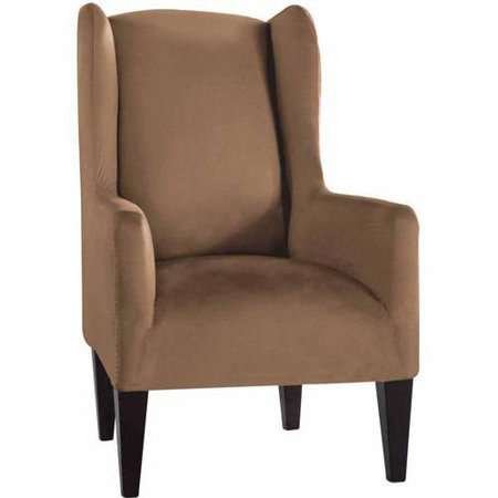 Marvelous Serta Stretch Fit Microsuede Slipcover Wingback Chair Box Cushion Pdpeps Interior Chair Design Pdpepsorg