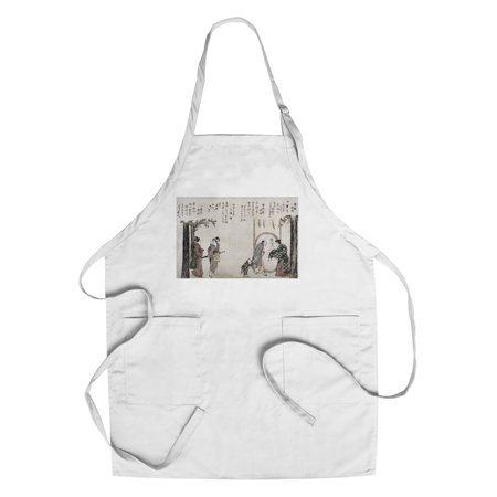 Family Arriving At A Temple Japanese Wood Cut Print  Cotton Polyester Chefs Apron