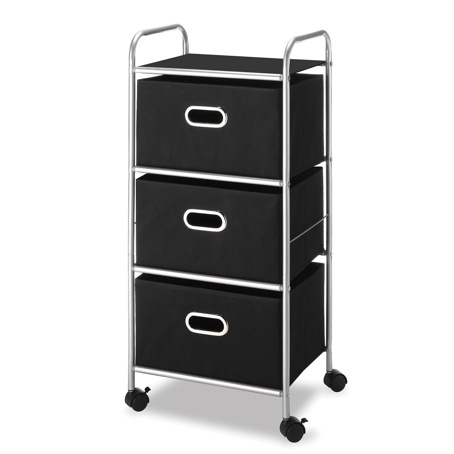 3-Drawer Chest Cart, Silver and Black by Whitmor