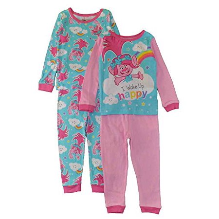 a818d8447156 Trolls - Trolls Little Girls  Toddler Poppy 4-Piece Cotton Pajama ...