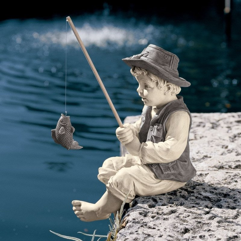Design Toscano Frederic the Little Fisherman of Avignon Garden Statue by Design Toscano