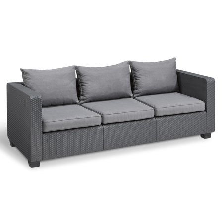 Keter Salta 3 Seat Sofa Gray with Sunbrella Cushions, Resin Outdoor Patio Furniture ()