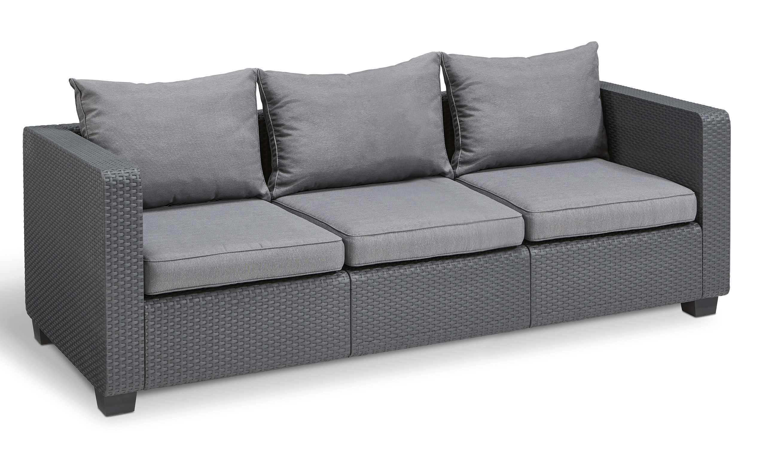 Keter Salta 3 Seat Sofa Gray With Sunbrella Cushions, Resin Outdoor Patio  Furniture