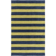 3.5' x 5.5' Tiáowén Lemon Lime Green and Midnight Blue Striped Hand Tufted Area Throw Rug
