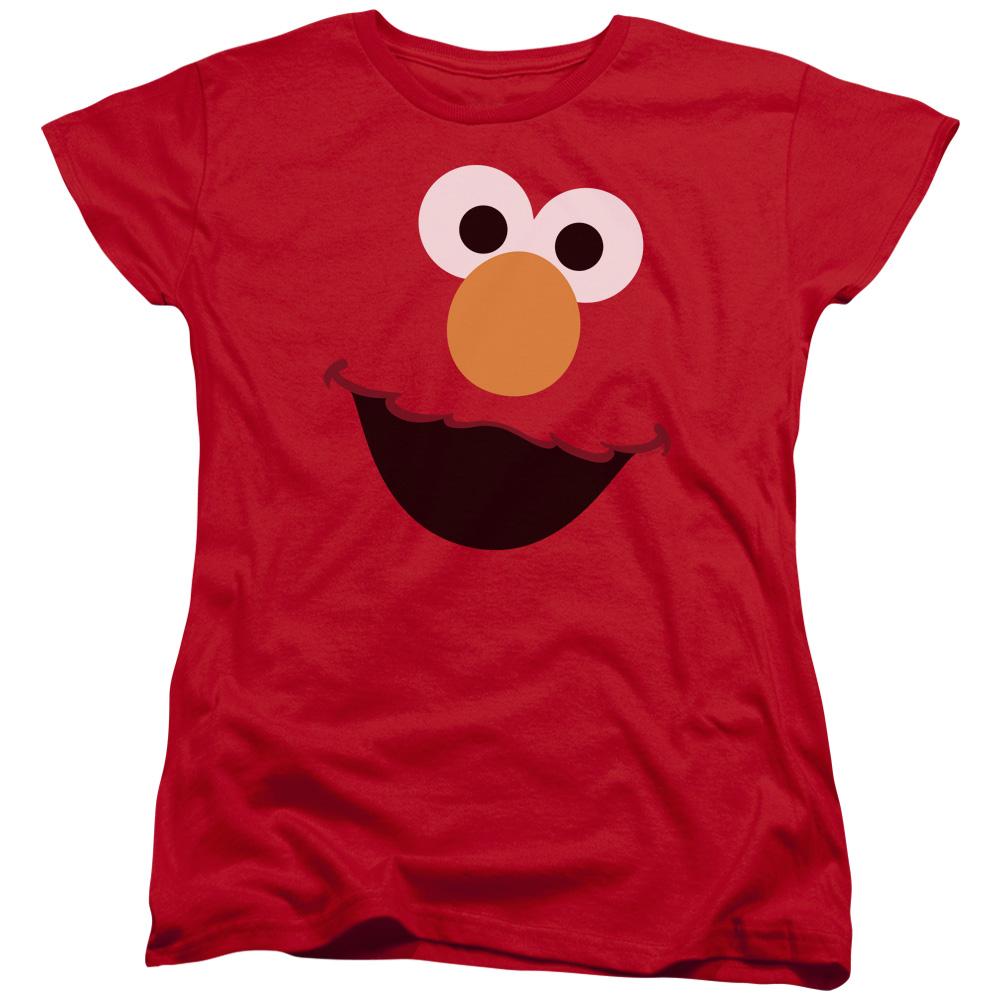 Sesame Street Classic Children's TV Show Elmo Face Outline Women's T-Shirt Tee