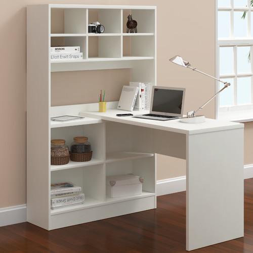 Latitude Run Yeadon L-Shape Writing Desk with Hutch