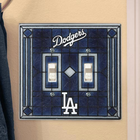 Baseball Clearance Outlet (Los Angeles Dodgers Navy Blue Art-Glass Double Switch Plate Cover - No)