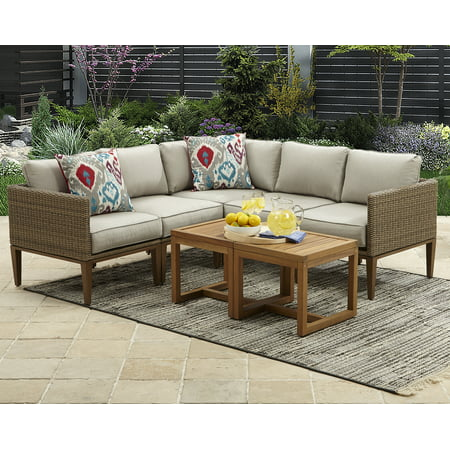 Better Homes and Gardens Davenport 7 Piece Outdoor Sectional Set with Beige Cushions