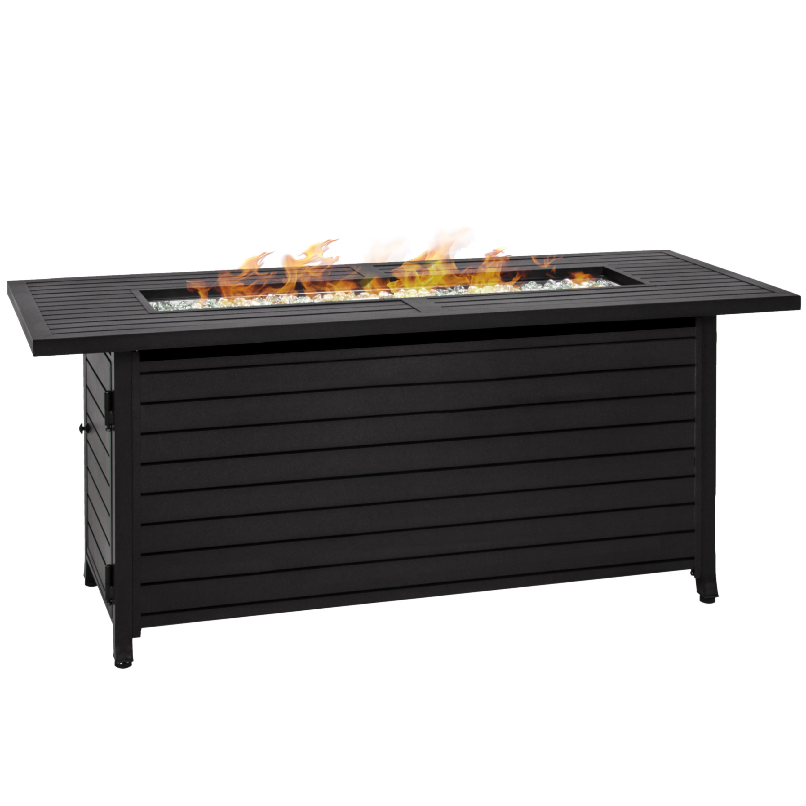 Best Choice Products 57in Rectangular Extruded Aluminum Gas Fire Pit Table w/ Cover and Glass Beads - Black