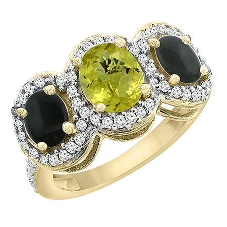 10K Yellow Gold Natural Lemon Quartz & Black Onyx 3-Stone Ring Oval Diamond Accent, size 9