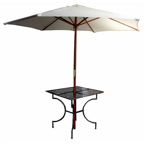 Pangaea Home and Garden Iron Square Dining Table with 2.75'' Umbrella Holder