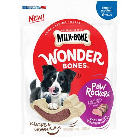 Milk-Bone Wonder Bones Paw Rockers Long Lasting Dog Treats with Real Beef, Small-Medium, 18.8 (Paws & Claws Treats)