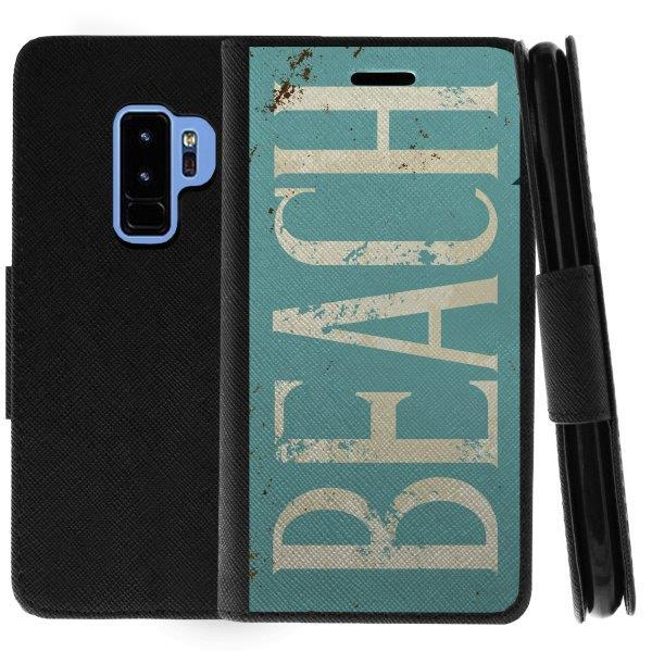 TurtleArmor ® | For Samsung Galaxy S9+ (Plus) G965 [Wallet Case] Leather Cover with Flip Kickstand and Card Slots - Beach Logo