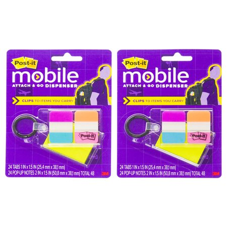 Post-it (2 Pack) 3M Attach and Go Tab Dispenser Keychain Multi-color Sticky Note Flags Office Supplies