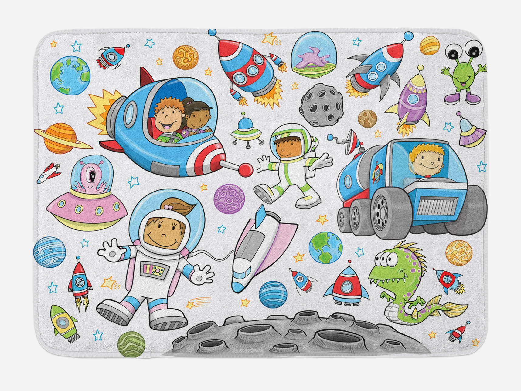 Outer Space Bath Mat, Cute Deep Space Astronaut Girl Boy Aliens Rockets on Moon Kids... by 3decor llc