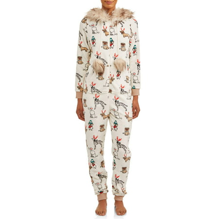 Holiday Time Womens' and Womens' Plus Size Faux Fur Trim Union Suit Penguin Pajama Pants