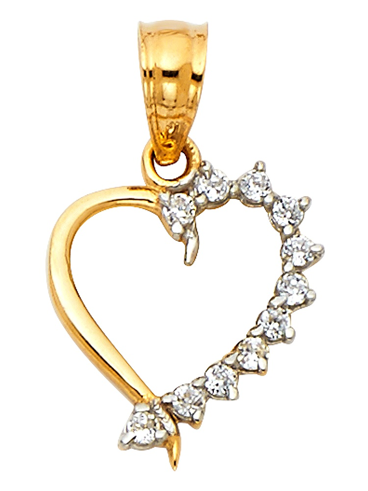 Solid 14k Yellow Gold Heart Charm CZ Love Pendant Open Design Pave Style Polished Fancy Small 10 x 11 mm