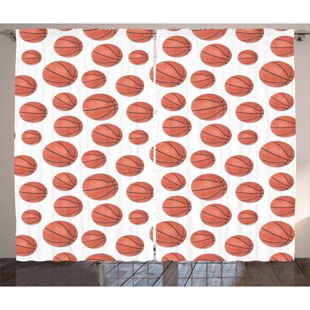 Basketball Curtains 2 Panels Set Realistic Style Balls Pattern On White Classical Sports Themed