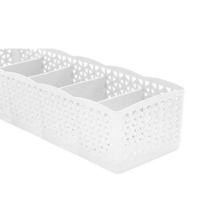 Gobestart 5 Cells Plastic Organizer Storage Box Tie Bra Socks Drawer Cosmetic Divider Plastic Storage Dividers