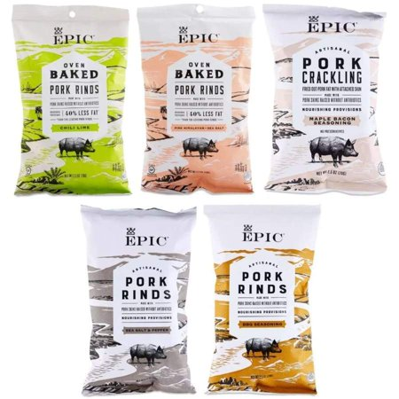 Epic Baked Pork Rinds - Variety Pack 2.5oz Pack: One Pack (5 (Best Way To Eat Pork Rinds)