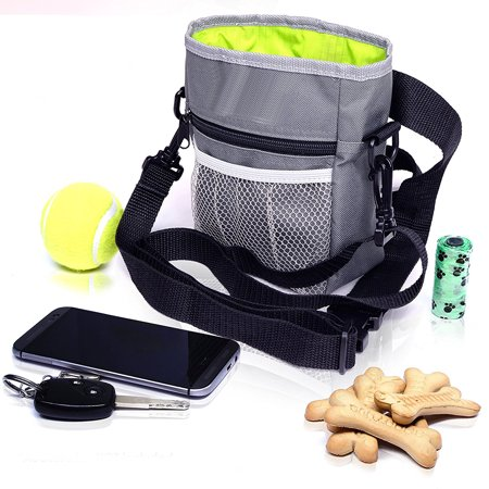 Reactionnx Dog Treat Bags – Treat Training Pouches with Built-In Poop Bag Dispenser, Waist and Shoulder Reflective Straps and Belt Clip - Puppy and Adult Dog Treats Tote