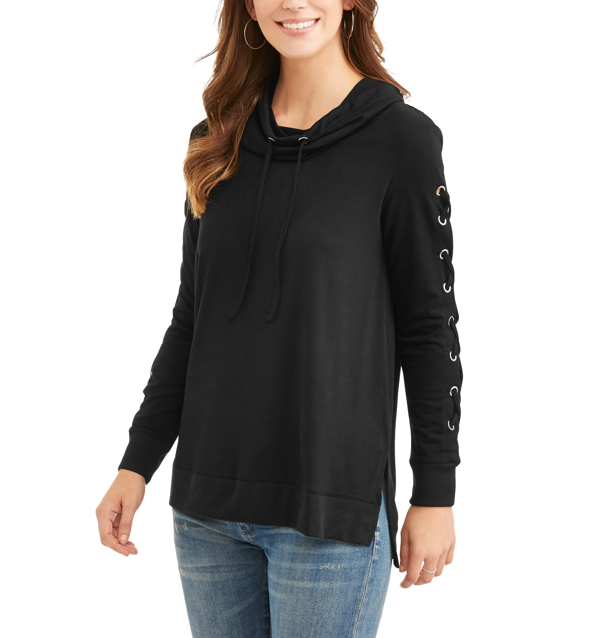 Women's Lace Up Sleeve Tunic Length Hoodie