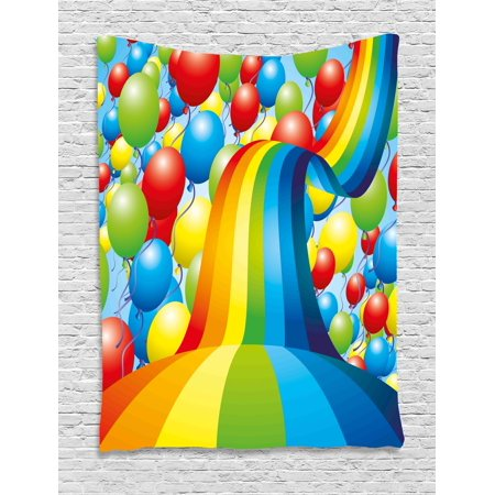 Birthday Decorations Tapestry, Many Vibrant Balloons Wavy Rainbow Ribbons Festive Celebration Mood, Wall Hanging for Bedroom Living Room Dorm Decor, 40W X 60L Inches, Multicolor, by Ambesonne