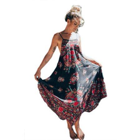 Women Halterneck Floral Long Maxi Dress Summer Beach Sundress Loose Evening Party Cocktail