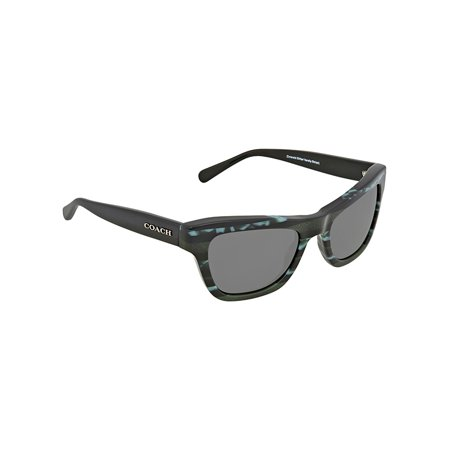 Coach HC 8223 547687 Sunglasses Emerald Glitter Varsity Stripe Frame Gray (Emerald Sunglasses)