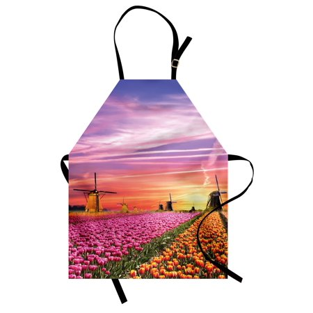 Orange Windmill - Nature Apron Tulip Fields and Windmills in European Landscape with a Sunset Sky View, Unisex Kitchen Bib Apron with Adjustable Neck for Cooking Baking Gardening, Orange Pink Purple, by Ambesonne