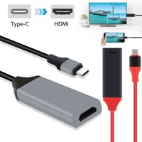 """USB C to HDMI Cable Cord, TSV Type C to HDMI Cable 7.3"""" [Thunderbolt 3] Fit for Samsung Note 9, Huawei Mate30 P30 to Mirror Video Picture on your Laptop for Bigger Screen on Monitor, Projector and TV"""