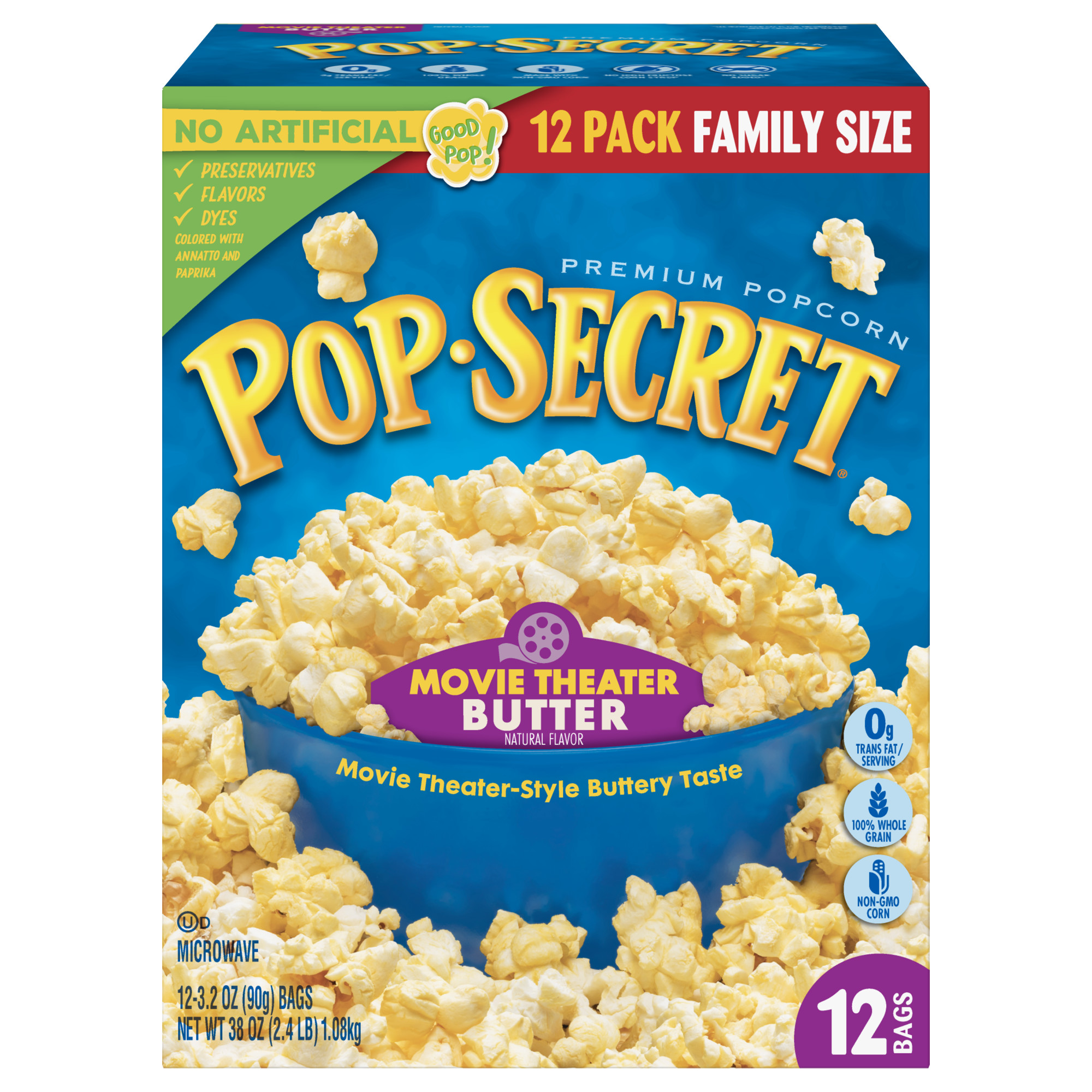 Pop Secret Microwave Popcorn, Movie Theater Butter, 3.2 Oz, 12 Ct