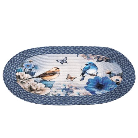 Bird Garden Floral Braided Oval Accent Rug - Seasonal Décor for Any Room in Home