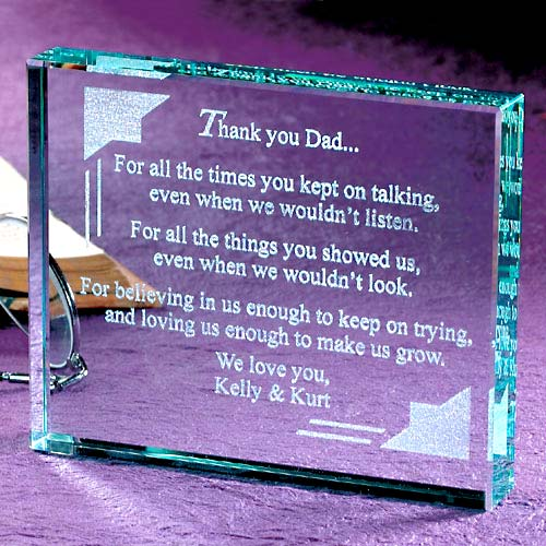 Personalized Thank You Dad Glass Paperweight