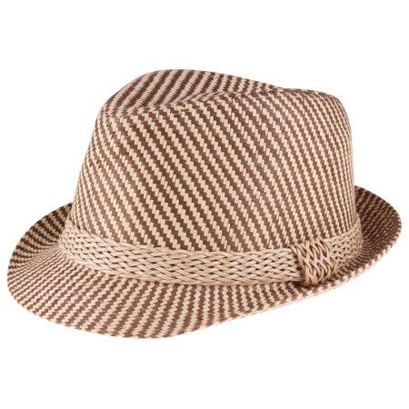 ca5b00c687c Enimay Men s Women s Classic Structured Manhattan Fedora Hat Braid Stripes Size  L-XL - Walmart.com