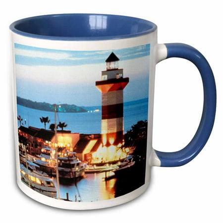 Harbor Town Lighthouse (3dRose Harbour Town Lighthouse at Hilton Head Island at Dusk - Two Tone Blue Mug,)