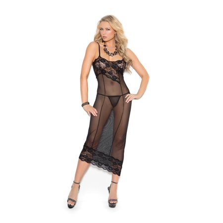 8af2e0a564c23 Black Mesh Gown Women's Sexy Lingerie Soft Lace Negligee With G-String  SM-LG ...