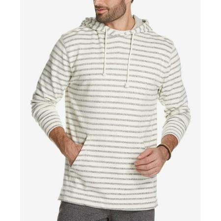 Weatherproof NEW Cream Ivory Mens Size Medium M Hooded Striped Pullover